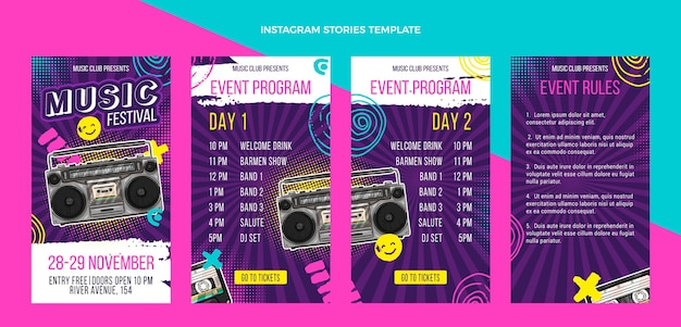 Hand drawn colorful music festival instagram stories