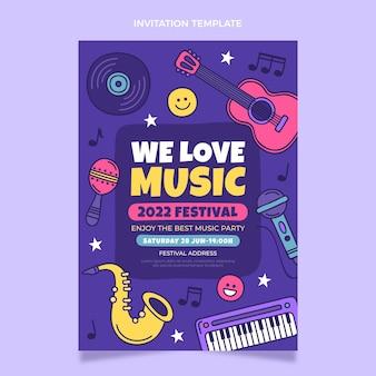 손으로 그린 다채로운 음악 축제 초대장