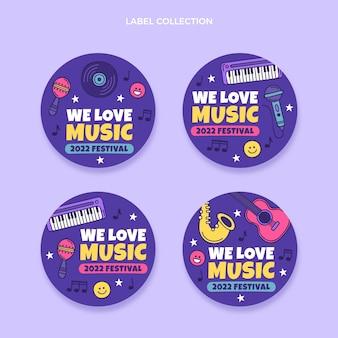 Etichetta e distintivi del festival musicale colorato disegnato a mano