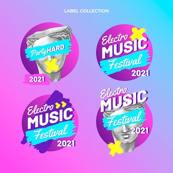 Hand drawn colorful music festival labels