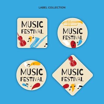 Нарисованные от руки красочные этикетки музыкального фестиваля