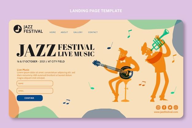 Pagina di destinazione del festival musicale colorato disegnato a mano