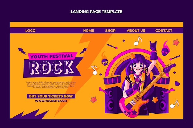 Hand drawn colorful music festival landing page