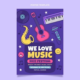Нарисованный рукой красочный плакат музыкального фестиваля