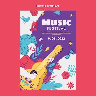 Hand drawn colorful music festival poster
