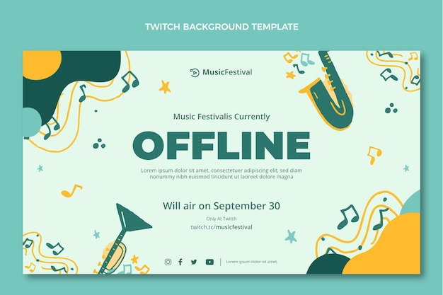 Hand drawn colorful music festival twitch background