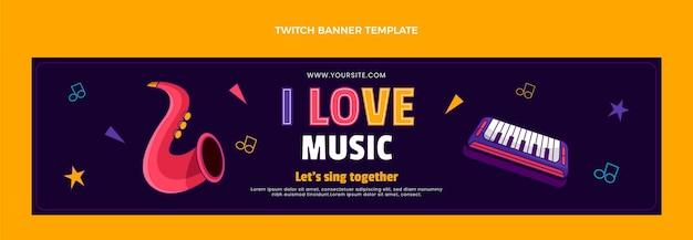손으로 그린 다채로운 음악 축제 트위치 배너