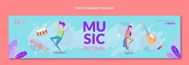 Banner di contrazione del festival musicale colorato disegnato a mano