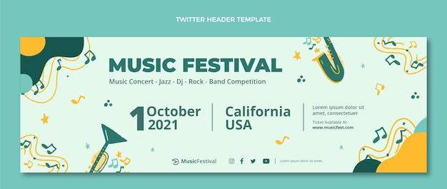 Нарисованный рукой красочный заголовок музыкального фестиваля в твиттере