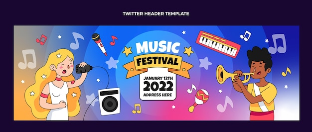 Hand drawn colorful music festival twitter header