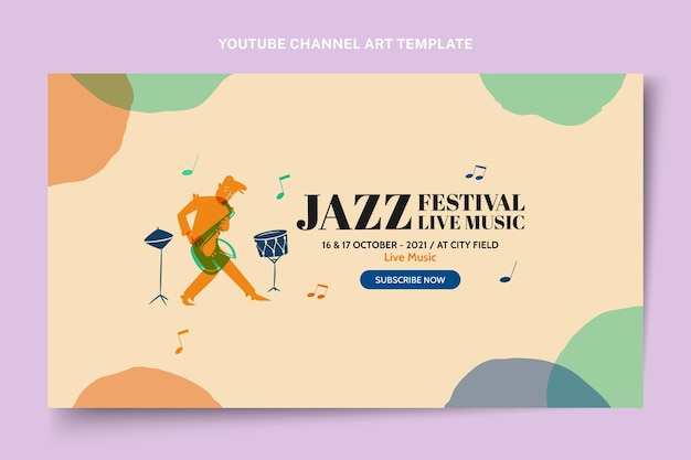 Hand drawn colorful music festival youtube channel art