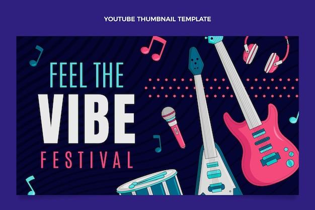 Miniatura di youtube del festival musicale colorato disegnato a mano