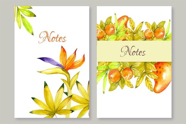 手描きのカラフルなノート花柄