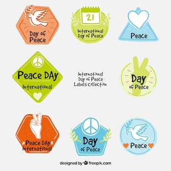 Hand drawn and colorful peace labels