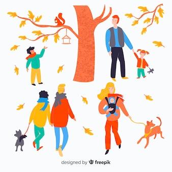 Hand drawn colorful people in autumn season