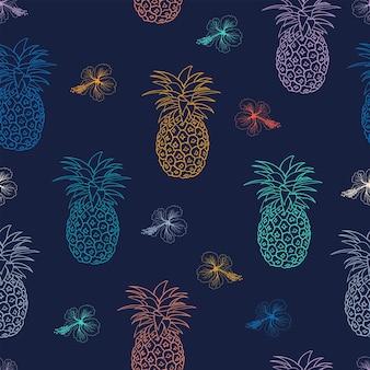 濃い青の背景のシームレスなパターンにハイビスカスと手描きのカラフルなパイナップル