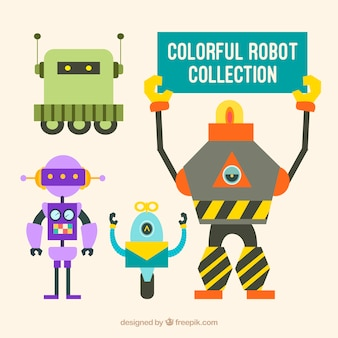 Hand drawn colorful robots collection