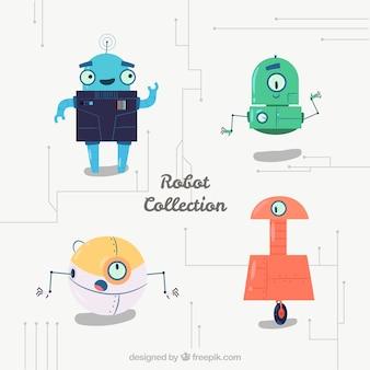 手描きのカラフルなロボットコレクション