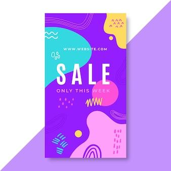 손으로 그린 다채로운 판매 instagram 이야기