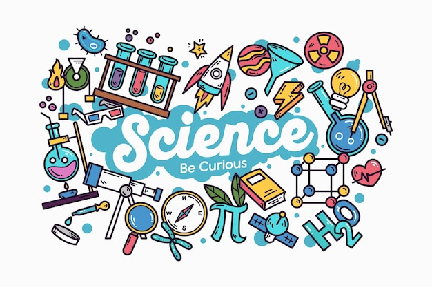 Hand-drawn colorful science education background