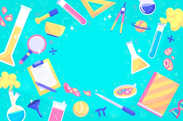 Hand drawn colorful science education background