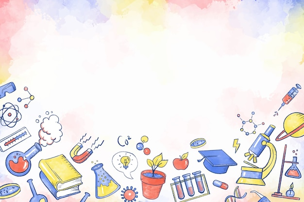 Hand drawn colorful science education wallpaper
