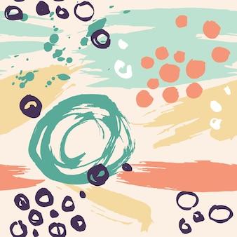 インクで描かれた手描きのカラフルなシームレスパターン Premiumベクター