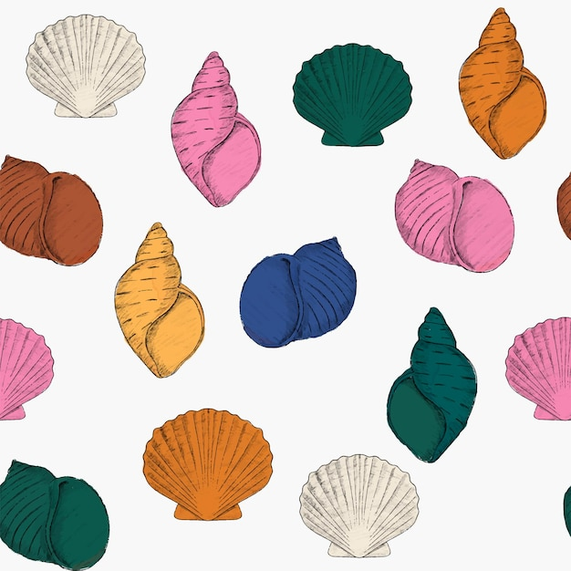 Hand drawn colorful seashell seamless pattern for fabric textile wallpaper print card banner