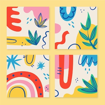 Hand drawn colorful shapes covers