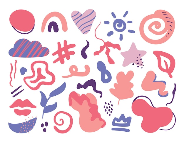 Hand drawn colorful shapes and doodle abstract floral trendy design elements vector isolated