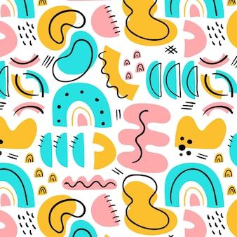 手描きのカラフルな形のパターン