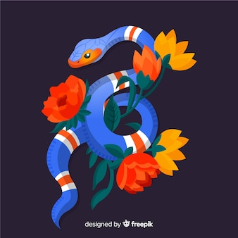 Hand drawn colorful snake with flowers background