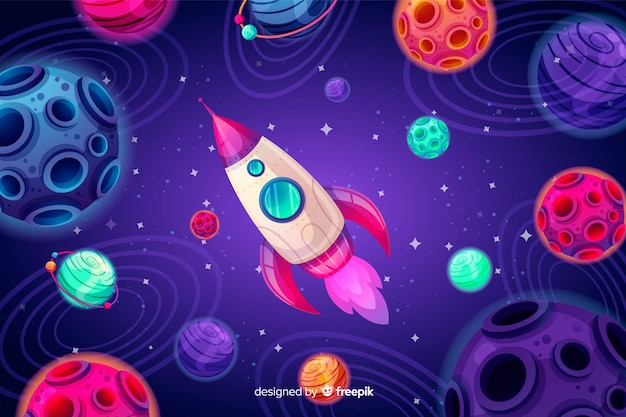 Hand drawn colorful space background