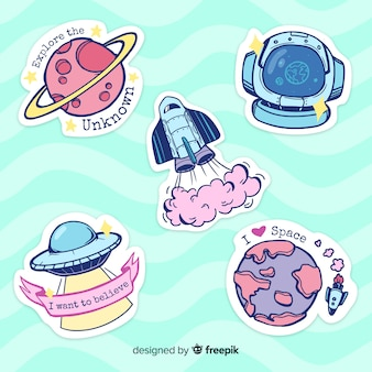 Hand drawn colorful space sticker collection