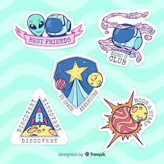 Hand drawn colorful space sticker set