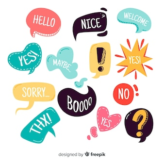Hand drawn colorful speech bubbles variety