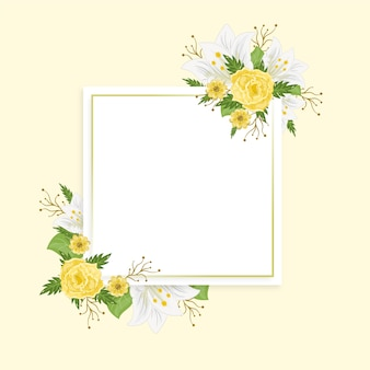 Hand drawn colorful spring floral frame