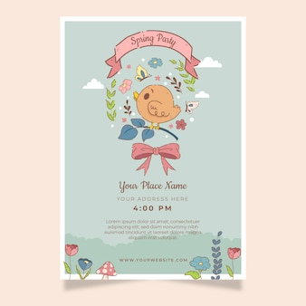 Hand drawn colorful spring party flyer template