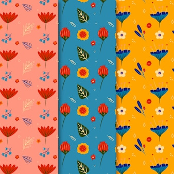 Hand drawn colorful spring pattern collection