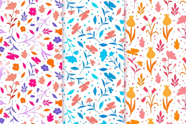 Hand drawn colorful spring pattern pack