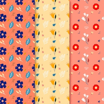 Hand drawn colorful spring pattern set