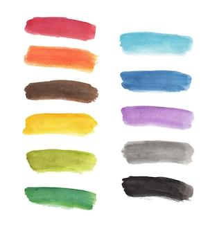 손으로 그린 다채로운 스트라이프 라인 수채화 절연