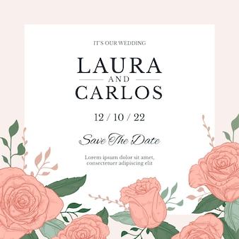Hand drawn colorful template wedding invitation