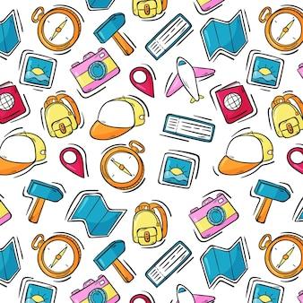 손으로 그린 다채로운 여행 패턴