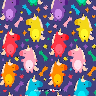 Hand drawn colorful unicorn pattern