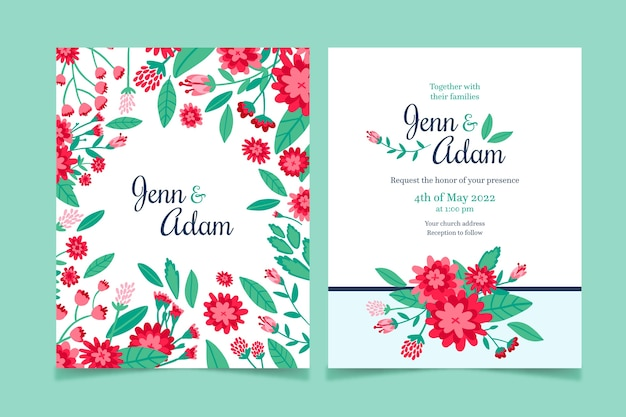 Hand-drawn colorful wedding invitation concept