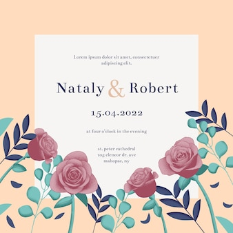 Hand drawn colorful wedding invitation template