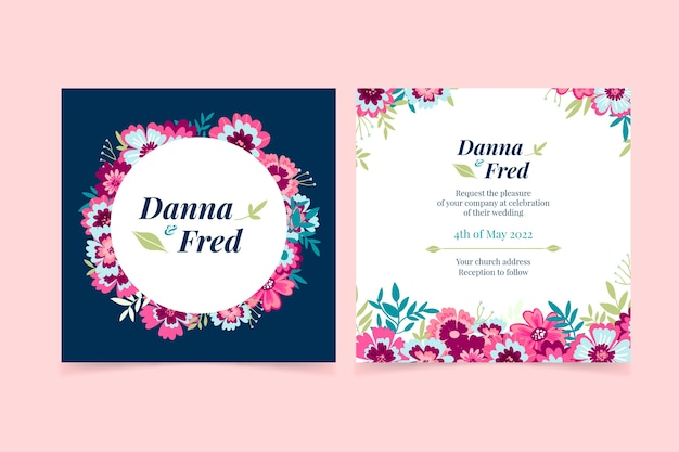 Hand-drawn colorful wedding invitation theme