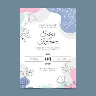 Hand drawn colorful wedding invitation