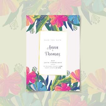 手描きのカラフルな結婚式の招待状